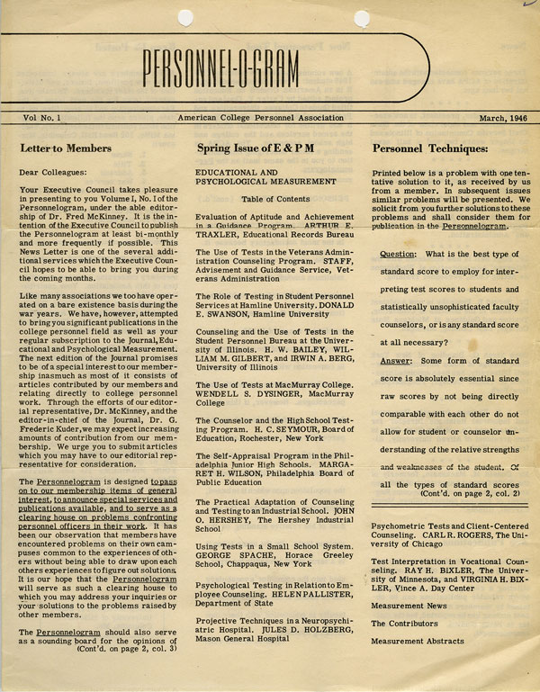 First Issue of the Personnel-O-Gram