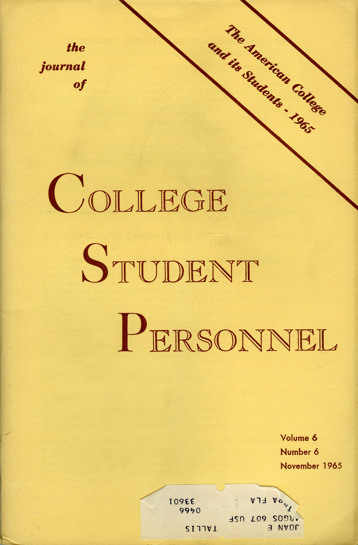 The Journal of College Student Personnel 1965 Design Change