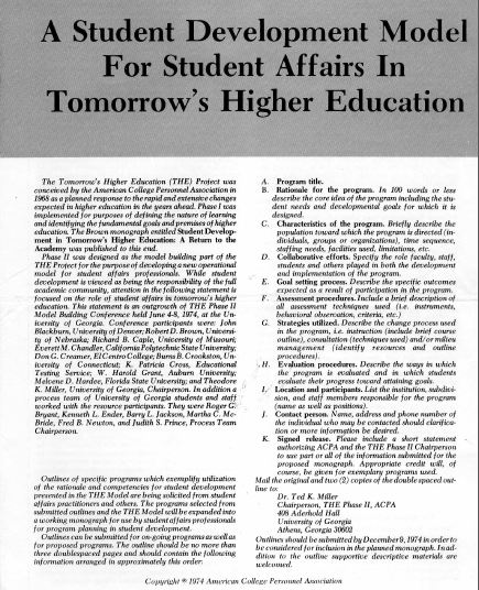 Phase II - A Student Development Model for Student Affairs in Tomorrow's Higher Education