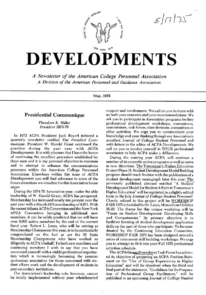 Inaugural issue of Developments; May, 1975